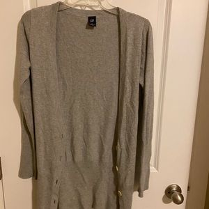 gap grey long button up cardigan